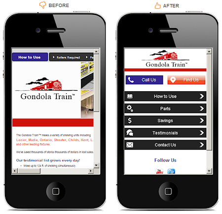 Before and After Gondola Train Mobile Website