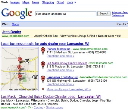 SERP for auto dealer lancaster wi