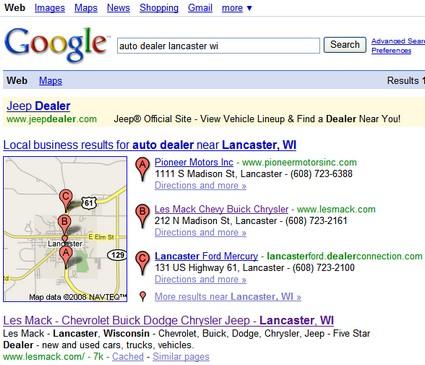 SERP for auto dealer lancaster wi
