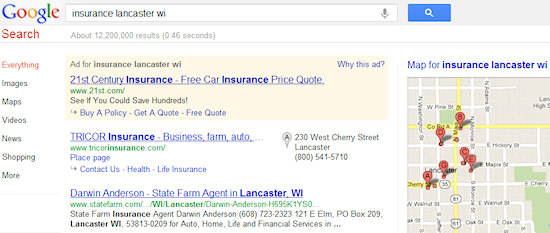 Google Search for Insurance Lancaster WI