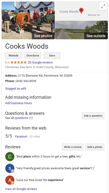 Cooks Woods Google My Business Listing
